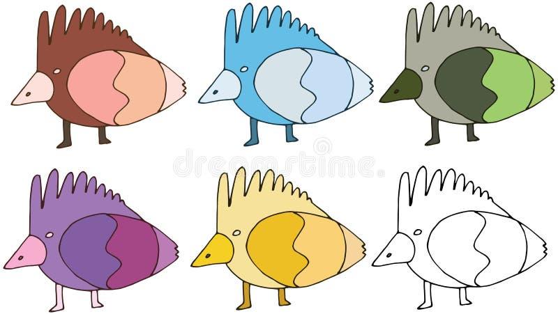 印刷品动画片乱画颜色鸟集合妖怪手画滑稽 向量例证