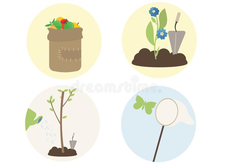 印刷品动画片平的植物树开花抓住蝴蝶果子采摘 向量例证
