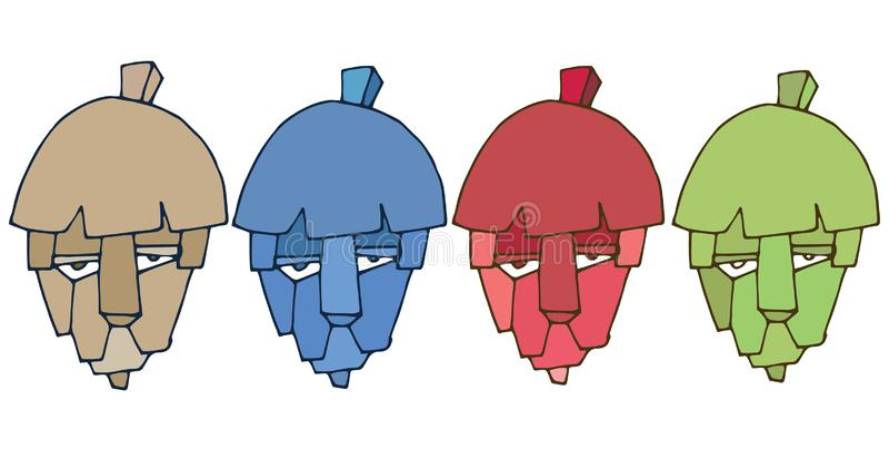 印刷品动画片顶头狮子商标妖怪集合颜色手凹道 向量例证
