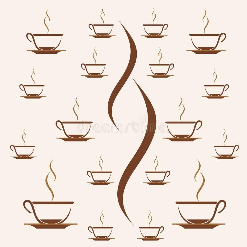 印刷品样式杯子咖啡,茶杯样式背景 皇族释放例证