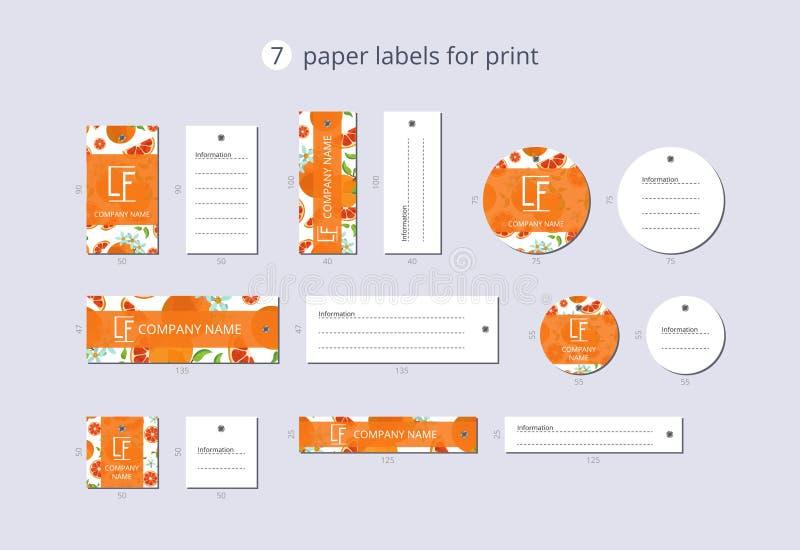 印刷品的传染媒介纸衣物标签用样式葡萄柚和花 向量例证