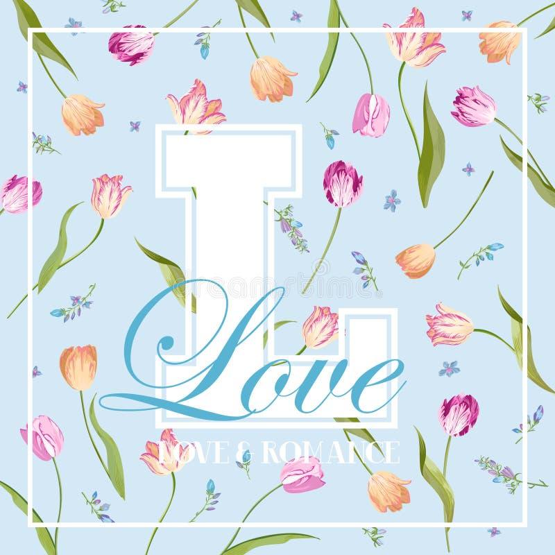 印刷品的爱浪漫花卉设计,织品, T恤杉,海报 与郁金香花的春天背景 向量例证