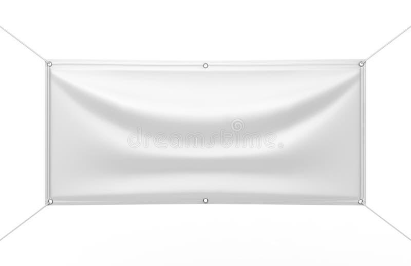 印刷品设计介绍的空白的白色室内室外织品&稀松窗帘用布乙烯基横幅 3d例证回报 皇族释放例证