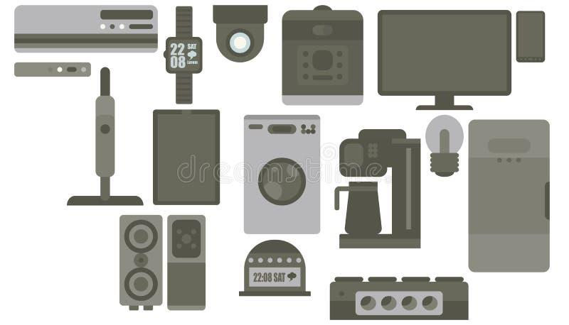 印刷品集合颜色灰色巧妙的小配件平的样式设备 皇族释放例证