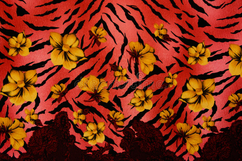 印刷品织品纹理镶边了豹子和花 库存图片