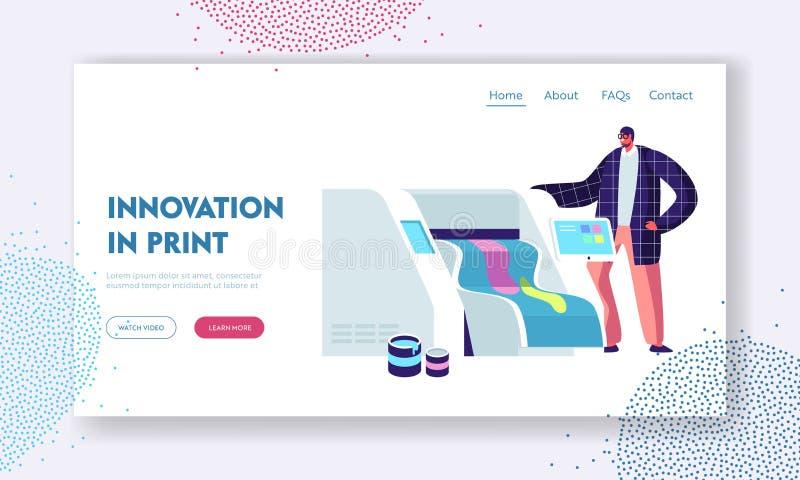 印刷店或印刷服务中心与人与宽银幕垂距喷墨打印机一起使用 电子设备,广告 向量例证
