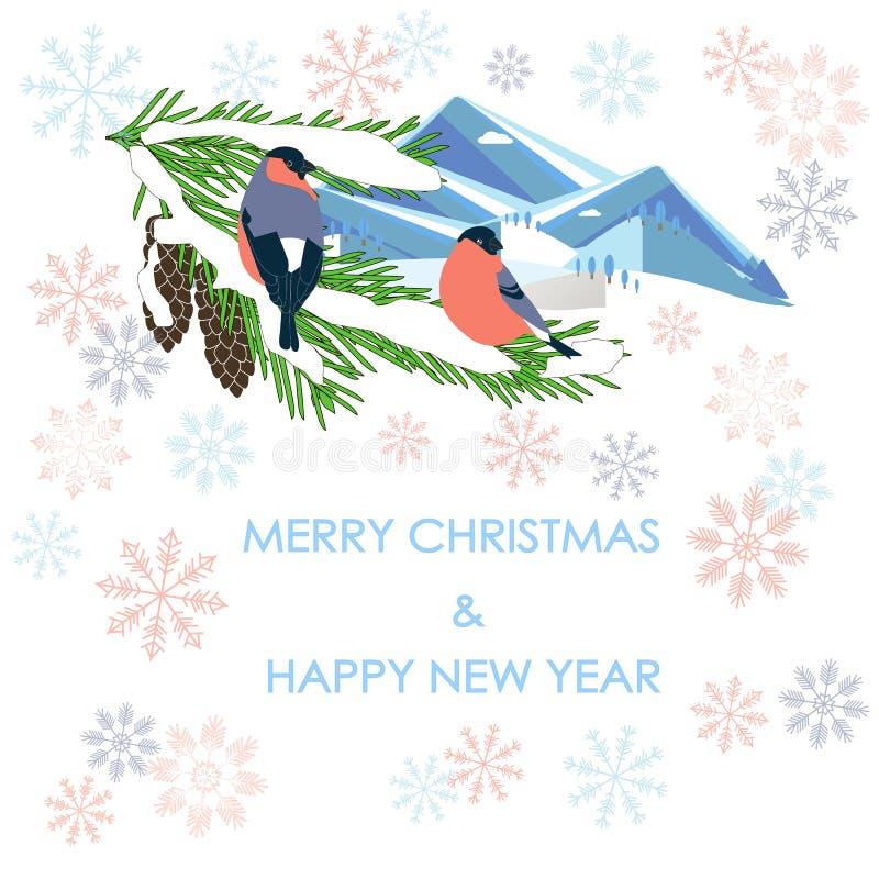 印刷术横幅圣诞快乐和新年快乐,在杉树,在白色的山的bulfinch 向量例证