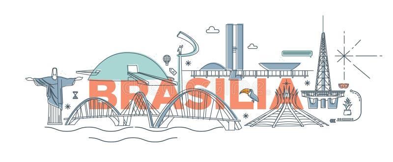 印刷术词`巴西利亚`烙记的技术概念 向量例证