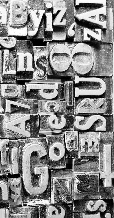 印刷机被排版的印刷术文本信件 免版税库存照片