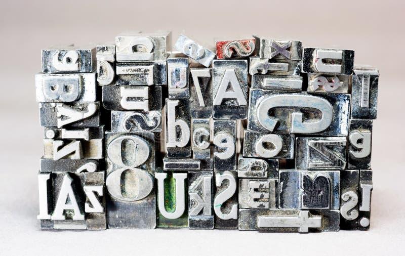 印刷机被排版的印刷术文本信件 图库摄影