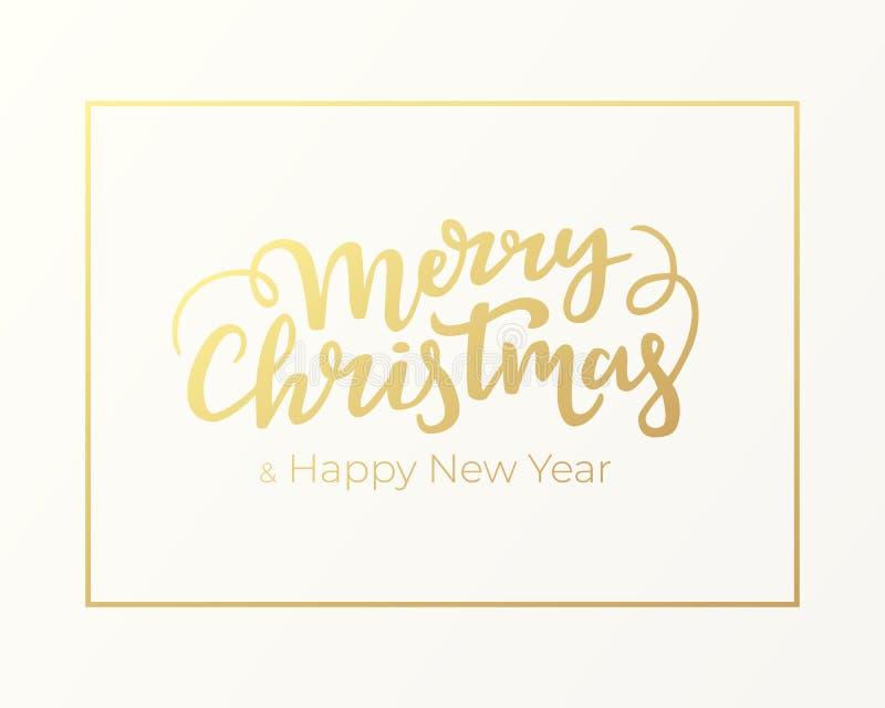 印刷欢乐招呼的明信片设计圣诞节和新年 与金黄框架和在上写字的寒假卡片  库存例证