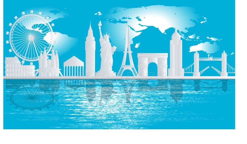 印刷白天欧洲地标,以地图为背景,有美丽的河影,蓝色背景,旅游插图, 免版税库存照片