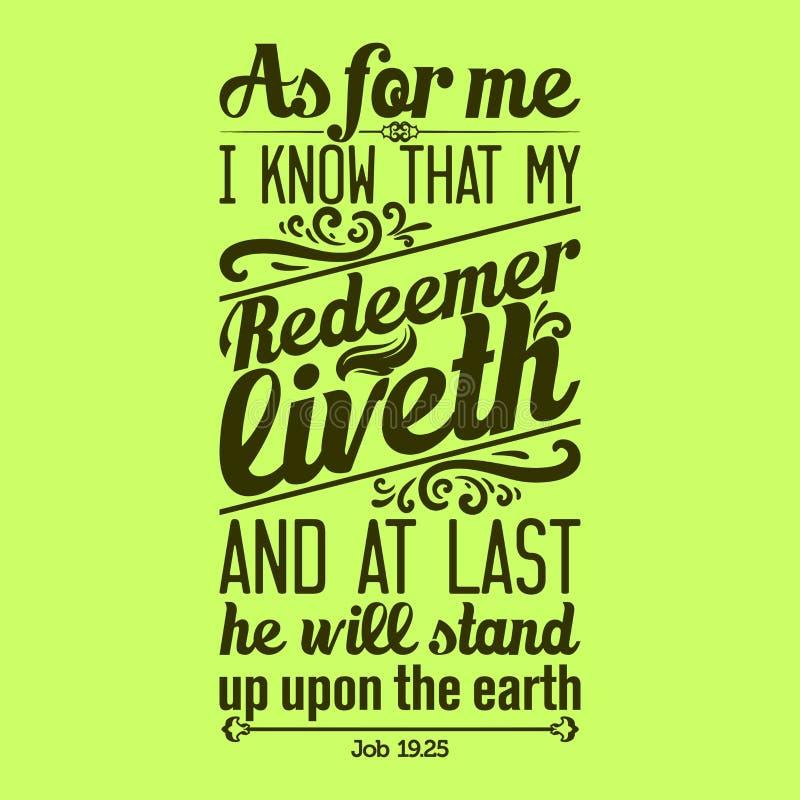 印刷的圣经 我知道我的救世主生活,和在为时他将站立在地球 皇族释放例证