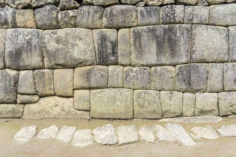 印加人墙壁在城市Machu-Picchu,秘鲁 图库摄影