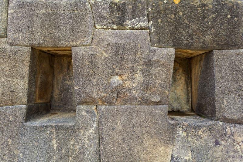 印加人墙壁在Ollantaytambo -神圣的谷-秘鲁 免版税库存照片