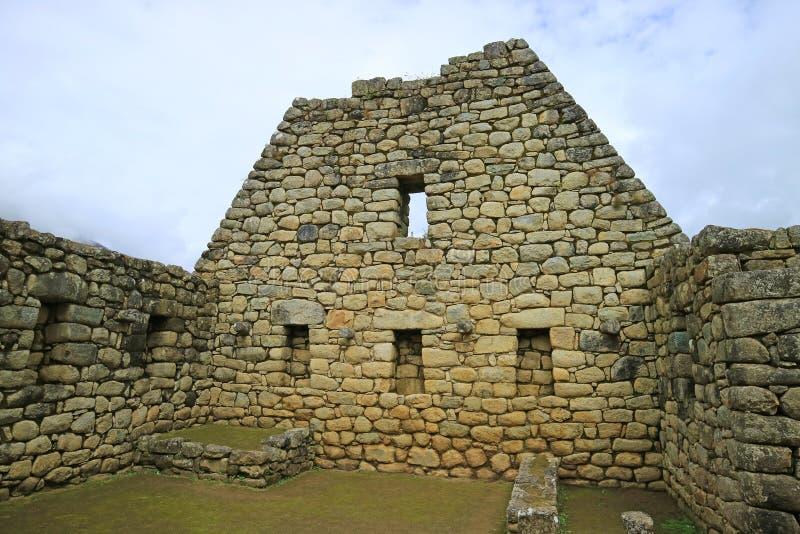 印加人建筑学遗骸在马丘比丘城堡,联合国科教文组织世界遗产名录考古学站点在库斯科地区,秘鲁 库存图片