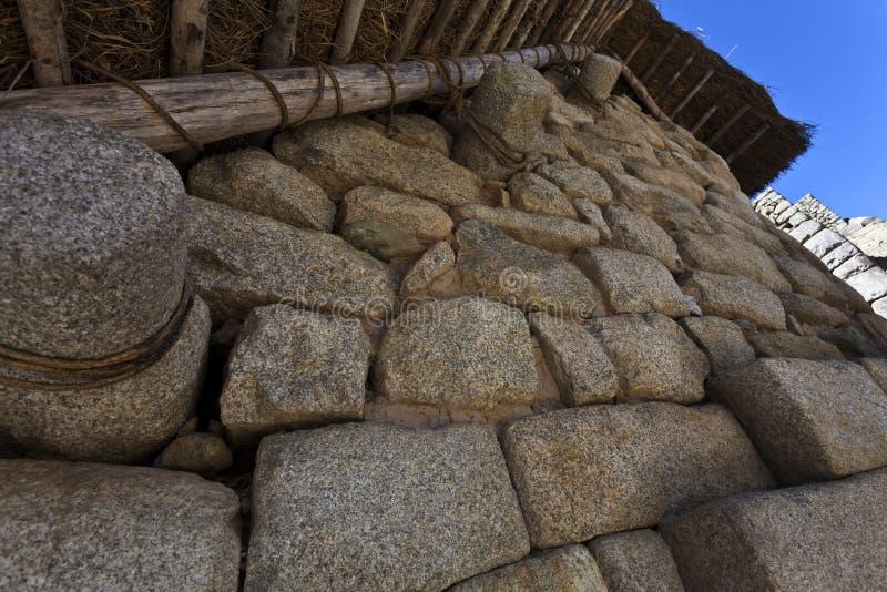 印加人房子在失去的印加人城市马丘比丘在秘鲁-南美 免版税库存图片