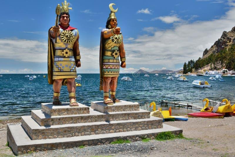 印加人神纪念碑 copacabana 湖Titicaca 流星锤 免版税图库摄影