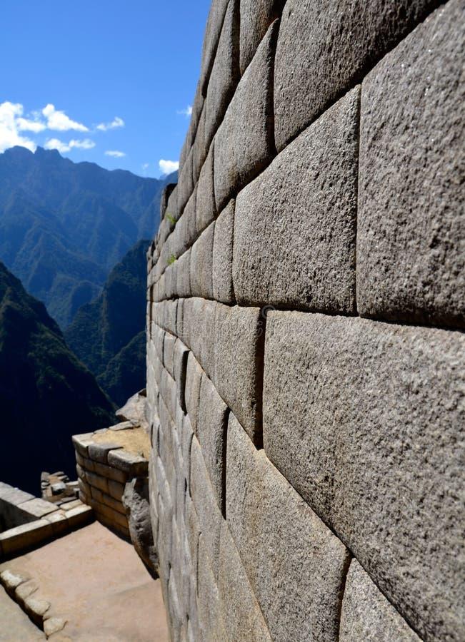 印加人machu picchu端寺庙墙壁 库存照片