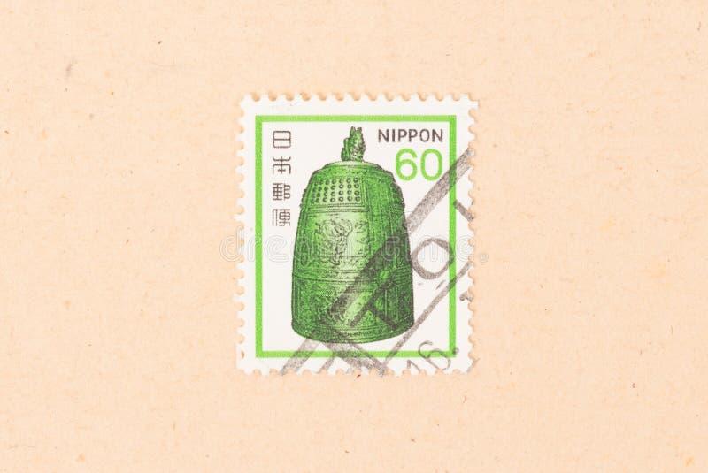印在日本的邮票上展示的是一件奇怪的物品,大约是1980年 免版税库存图片