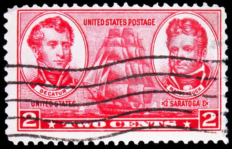 印在美国的邮票显示,史蒂芬迪凯特和托马斯麦克多诺,1937年左右的海军发行系列 免版税库存照片