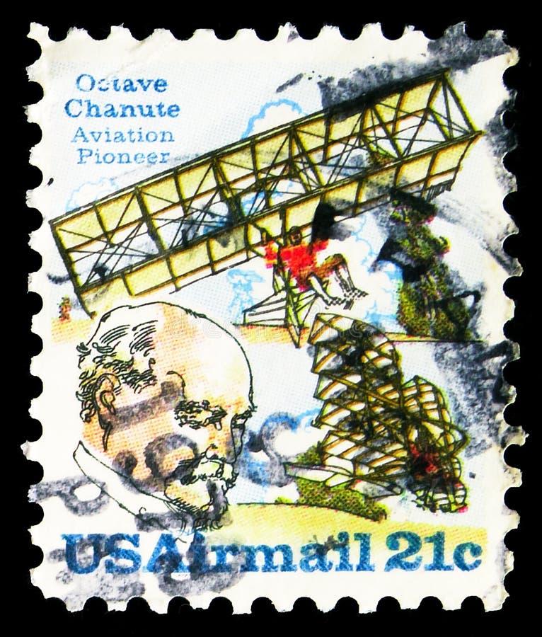 印在美国的邮票显示,1979年左右的Biplane Hang-glider和Chanute,Octave Chanute系列 图库摄影