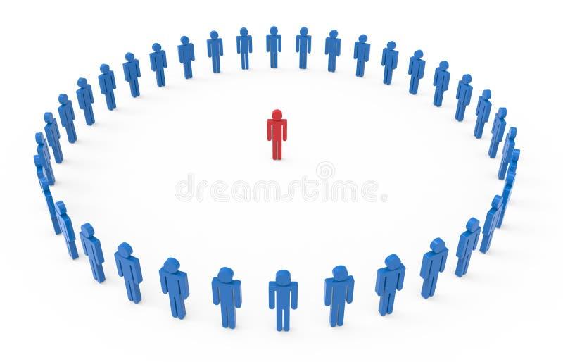 印地安人在蓝色的中心 向量例证