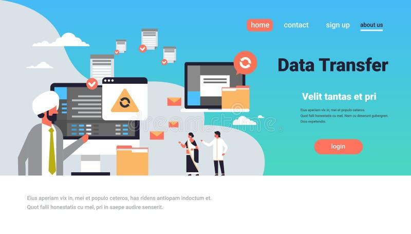 印地安人民运作的数据传送概念同步计算机连接数据库存取变革 向量例证