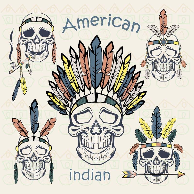 印地安人设置了用不同的头饰的头骨 皇族释放例证