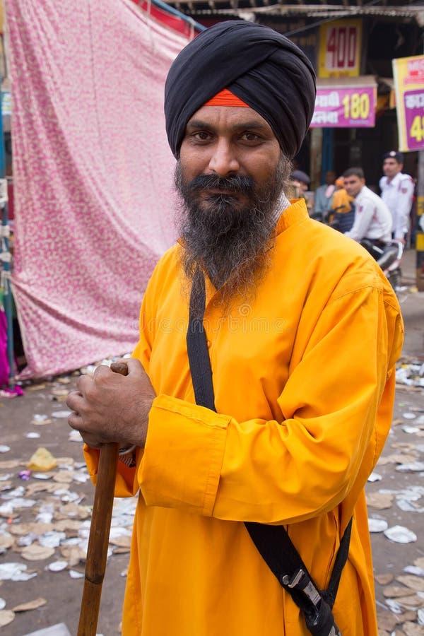 印地安人画象在拿那克Gurpurab庆祝时 库存照片