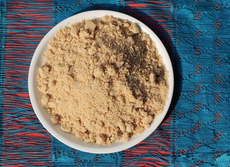 印地安传统烤小麦面粉甜点或Panjiri 库存照片