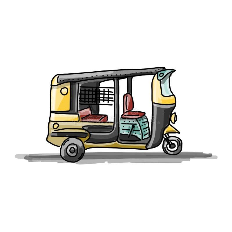 印地安出租汽车汽车,您的设计的剪影 库存例证