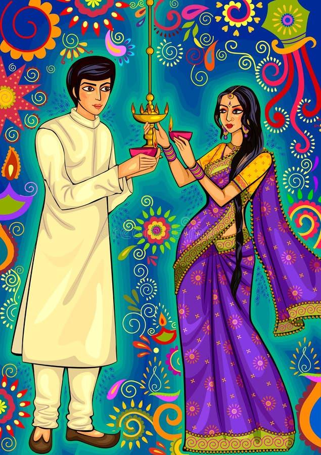 印地安加上屠妖节节日庆祝的diya装饰在印度 向量例证