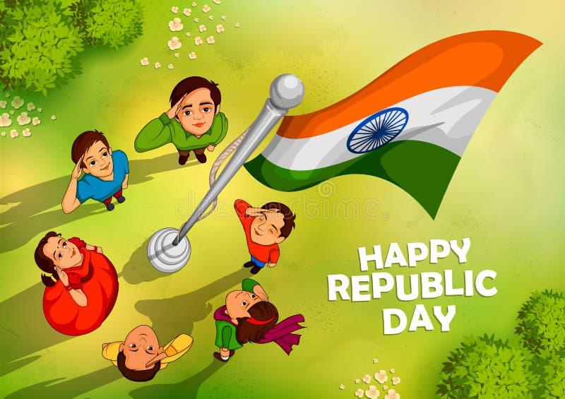 印地安印度的人民向致敬的旗子充满自豪感的在愉快的共和国天 皇族释放例证