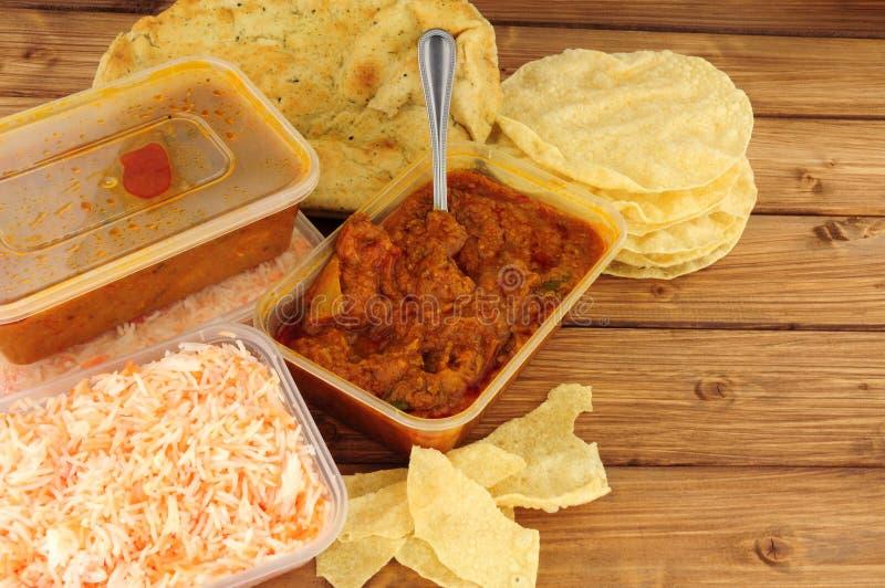 印地安咖喱拿走膳食 免版税库存图片