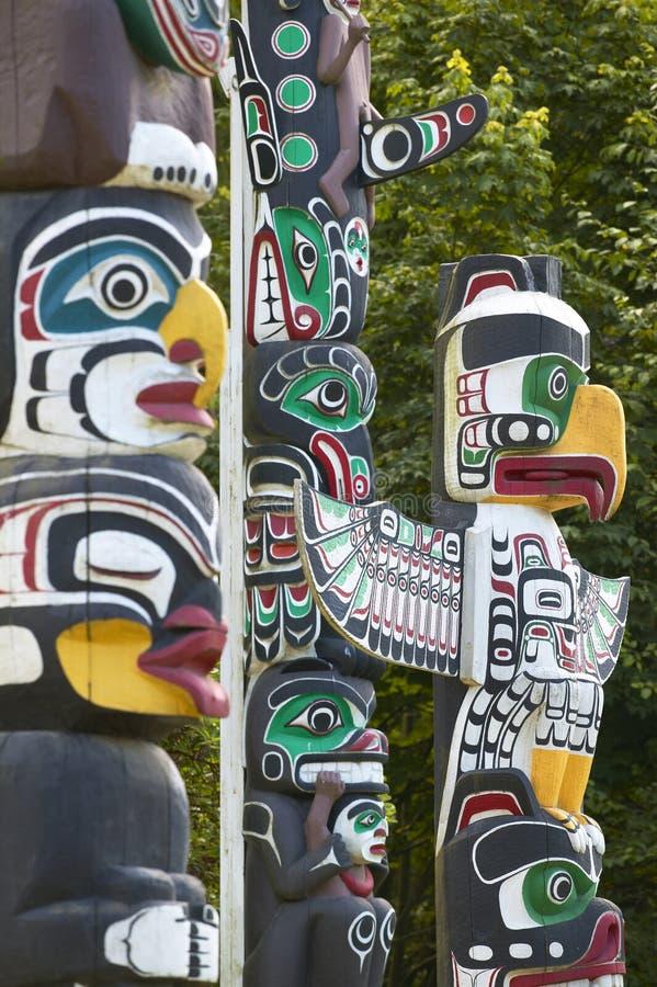 印地安图腾柱在温哥华 空中不列颠哥伦比亚省街市温哥华视图 加拿大 免版税库存图片