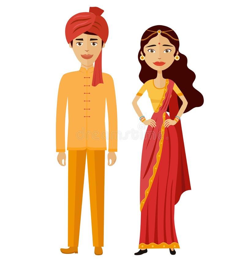 印地安夫妇导航平的动画片例证男人和妇女、新郎和新娘 向量例证