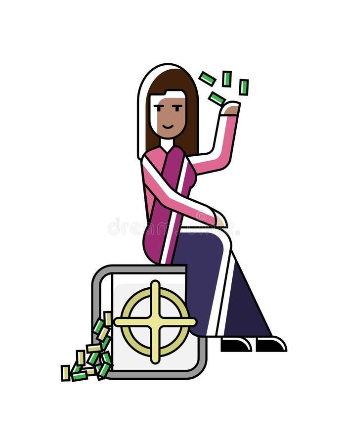印地安女实业家坐银行保险柜 向量例证