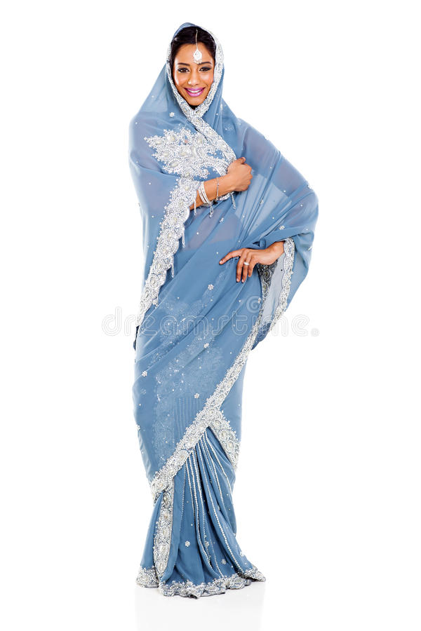 印地安妇女莎丽服 库存图片