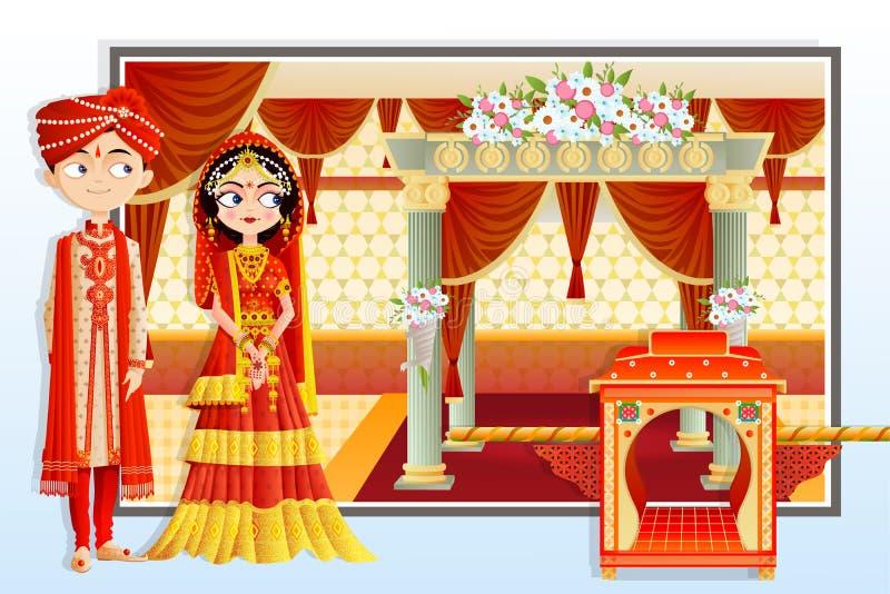 印地安婚礼夫妇 皇族释放例证