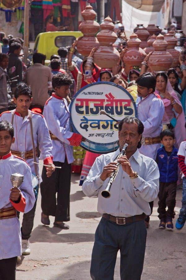 印地安婚礼游行 免版税库存照片