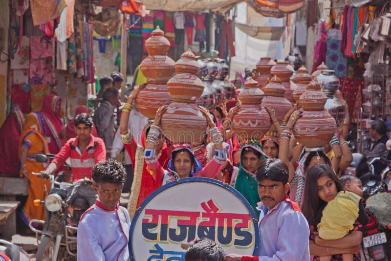 印地安婚礼队伍 免版税库存照片