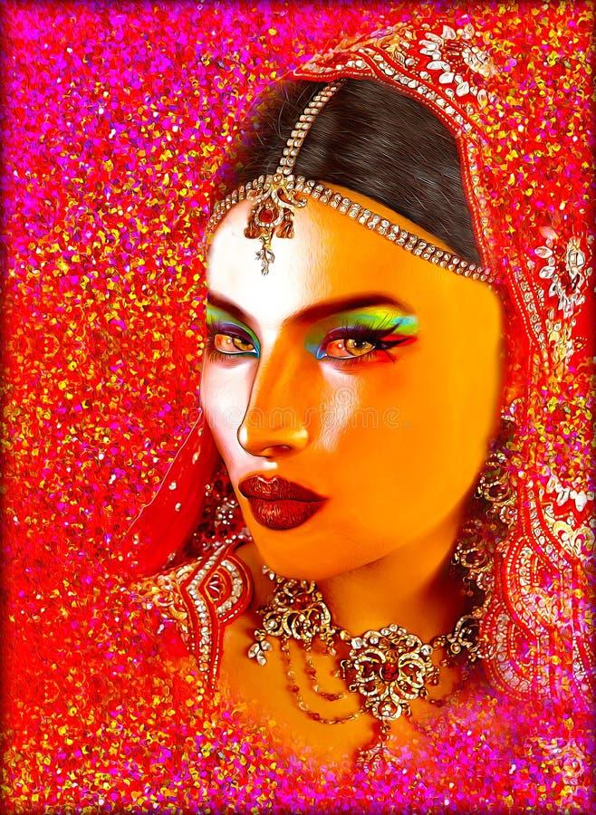 印地安或亚裔妇女的面孔,关闭抽象数字式艺术与五颜六色的面纱 油漆作用和发光的光是adde 库存照片