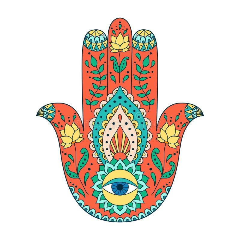 印地安手拉的hamsa Hamsa与种族装饰品的无刺指甲花纹身花刺 库存例证