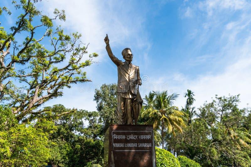 印地安政治领导的雕象改变方向Savrkar, 免版税库存照片