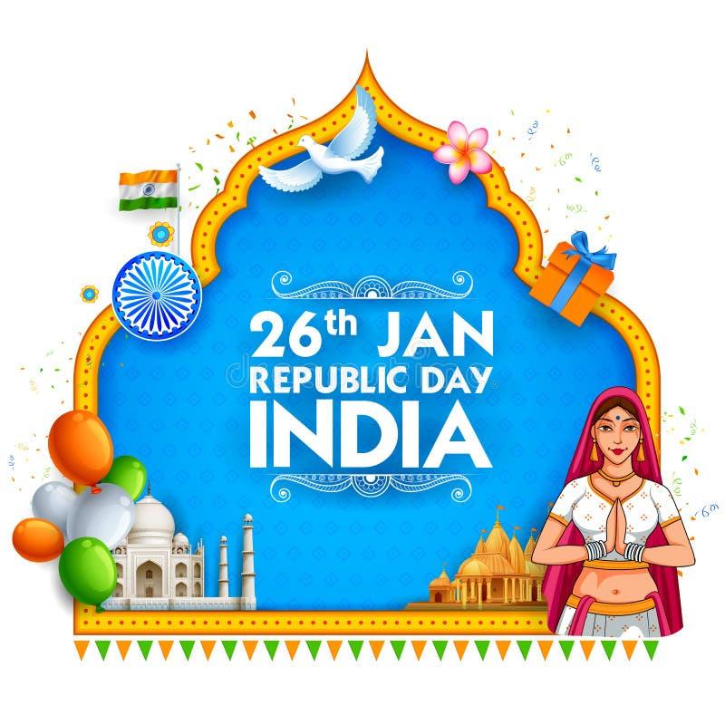 印地安旗子三色莎丽服的夫人为1月26日印度的愉快的共和国天 库存例证