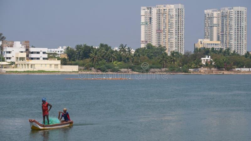 印地安死水的渔夫 免版税库存照片