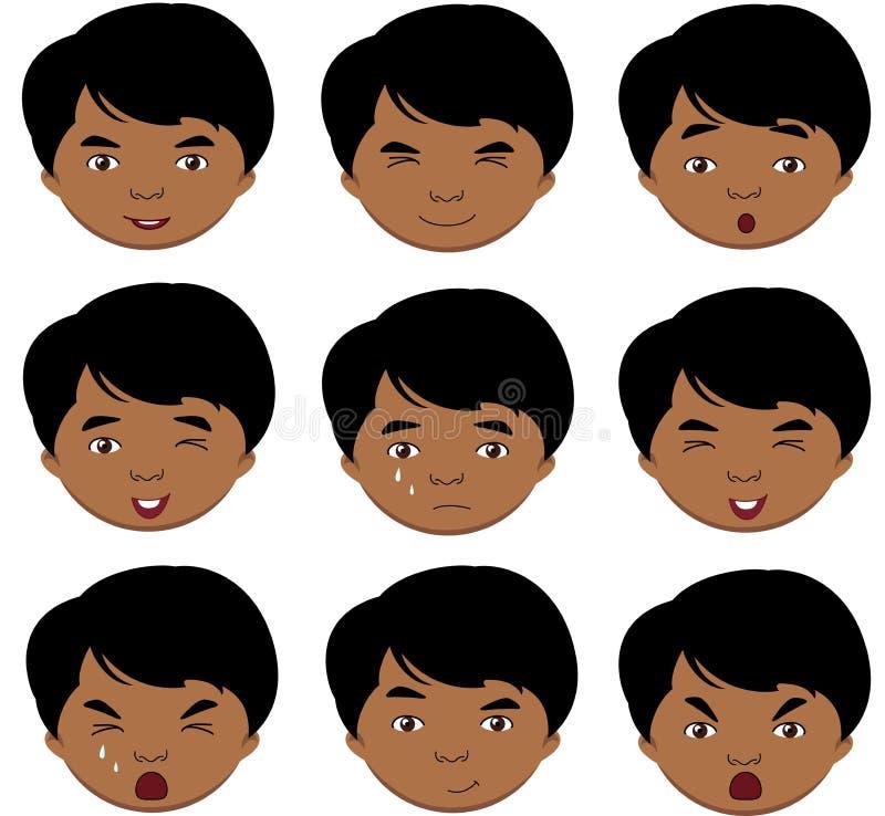 印地安男孩情感:喜悦,惊奇,恐惧,悲伤,哀痛, cryin 皇族释放例证