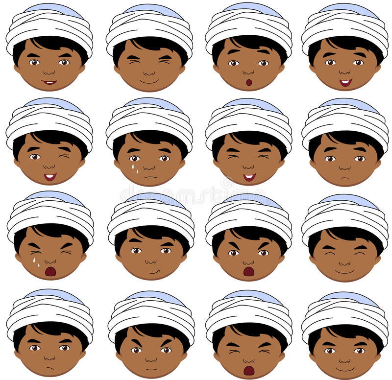 印地安男孩情感:喜悦,惊奇,恐惧,悲伤,哀痛, cryin 库存例证