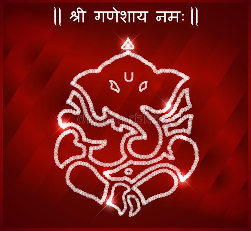 印地安神ganesha,愉快的ganesh chaturthi卡片 免版税库存照片